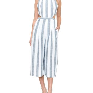 Striped Linen Cropped Jumpsuit