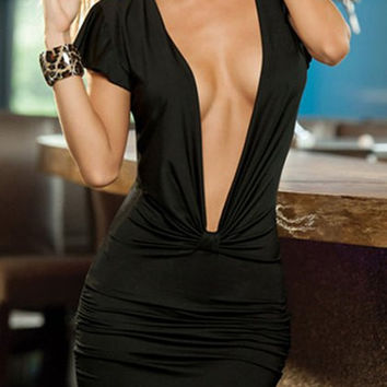 Black V-Neck Bodycon Short Sleeve Dress