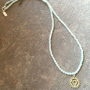 Fine Faceted Amazonite and Sterling Silver 'Throat Chakra' Pendant Necklace