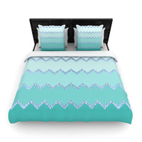 "Monika Strigel ""Avalon Mint Ombre"" Aqua Green Woven Duvet Cover"