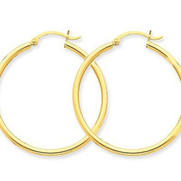 14k Yellow Gold Click-down Hoop Earrings (2mm), 1.4 inch (35mm)