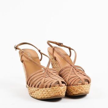 "Prada ""Camello"" Brown Leather Woven Platform Wedge Heel Sandals"