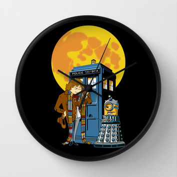 Tardis Doctor Who with Dalek Parody Decorative Circle Wall Clock Watch by Three Second