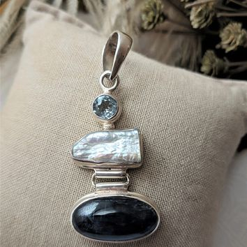 Artisan Crafted Sterling Silver Sodalite Baroque Pearl Faceted Aquamarine Pendant