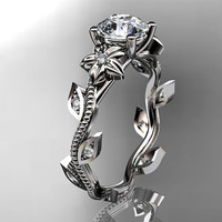 14kt  white  gold diamond leaf and vine wedding ring,engagement ring. ADLR151.Free Overnight Shipping