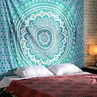 Turquoise Mandala Tapestry Hippie Tapestries Boho Bohemian Indian Wall Hanging By Rajrang