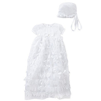 C.I. Castro & Co. 3-24 Months Petal Christening Gown & Bonnet Set - Wh