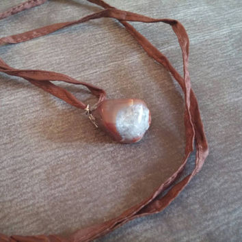 Quartz in Agate on Brown Silk Cording | Nature Necklace | Nature Jewelry | Boho Necklace | Gypsy Necklace | Green Witch Necklace