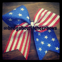 American flag cheer bow.