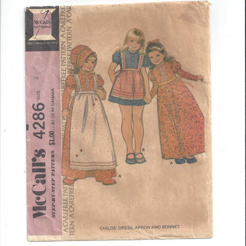 McCall's 4286 Pattern for Girls' Dress, Apron, Bonnet, Size 3, From 1974, UNCUT, FACTOR FOLDED, Vintage Pattern, Home Sew Pattern, Costume
