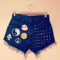 Vintage high waisted studded denim shorts with grunge patches