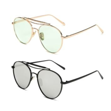 Flat Top Pilot Aviator Sun Glasses
