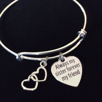 Always my Sister Forever My Friend Adjustable Expandable Silver Plated Bangle Bracelet One Size Fits Most Medical Occupational Charm Bracelet
