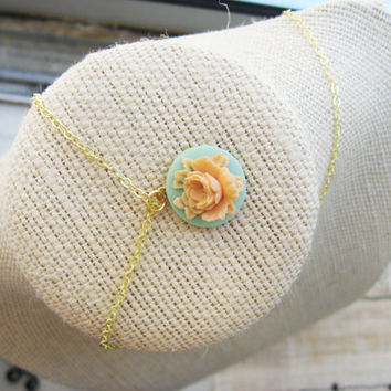 Teal and Peach Flower Necklace