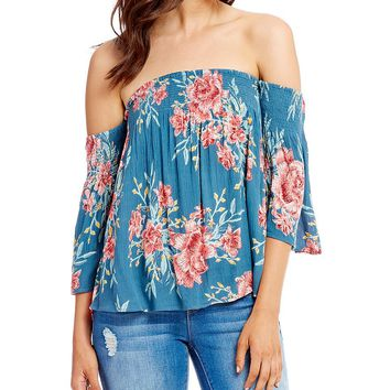 Billabong Free Flows Floral Printed Off-The-Shoulder Top | Dillards