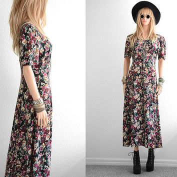 90s Floral Dress 90s Grunge Long Rayon Floral Maxi Dress Rayon Dress 90s Dress Long Floral Dress Vintage 90s Clothing Black Floral Dress S