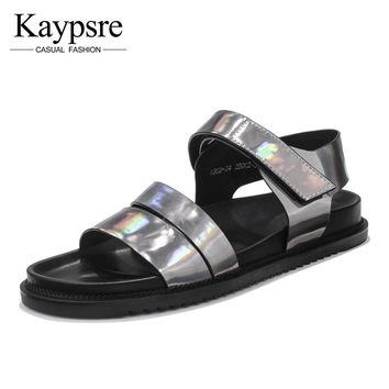 Kaypsre Fashion Men's Genuine Leather Sandals Summer Adult buckle-strap Casual Shoes