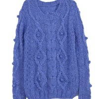Long Sleeves Thread Cable- Knit Sweater