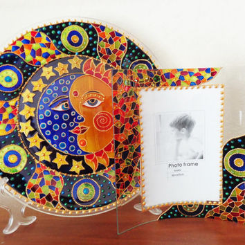 Sun & Moon art Set of 2 Plate and photoframe Glass painting Decorative plate Bohemian decor