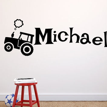 Personalized Tractor Decal Boys Vinyl Wall Decal Nursery Decal Custom Name Sticker Bedroom  Country Boy Farm Decal Vinyl T168