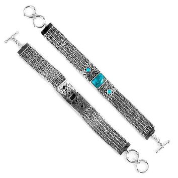 SB-1974-TQ Sterling Silver Bracelet With Turquoise