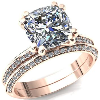 Nancy  Cushion Moissanite 4 Double Prong 1/2 Eternity Diamond Knife Shank Accent Engagement Ring