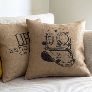 Burlap Pillow Case - Diving Helmet Garden Decor Industrial Chic Decor Nautical Design Pillow Coastal Chic Decorative Pillow Rustic Decor