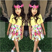 New Arrival Girls Flower Printed Clothing Set Children Clothing Set kids girls clothes T-shirt +Skirt