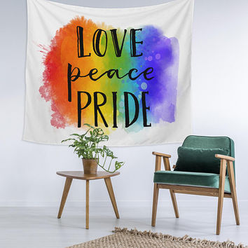 Love Peace Gay Pride Rainbow Home Decor Custom Printed Unique Dorm Decor Apartment Decor Trendy Wall Art Printed Wall Hanging Wall Tapestry