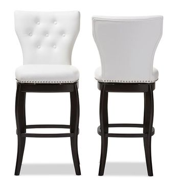 Baxton Studio Leonice Modern and Contemporary White Faux Leather Upholstered Button-tufted 29-Inch Swivel Bar Stool Set of 2