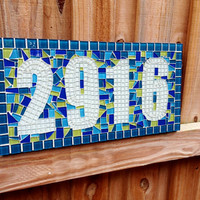Custom Address Sign, Mosaic House Number Sign, Turquoise and Lime Green