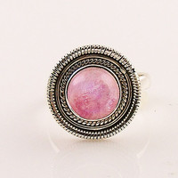 Pink Moonstone Spiral Sterling Silver Ring