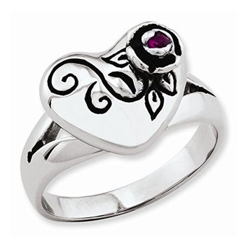 Stainless Steel Heart & Small Rose W/red Cz Ring by Ed Hardy Jewelry, Best Quality Free Gift Box Satisfaction Guaranteed