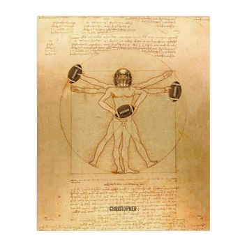 Leonardo Vitruvian Man As American Football Player Acrylic Wall Art