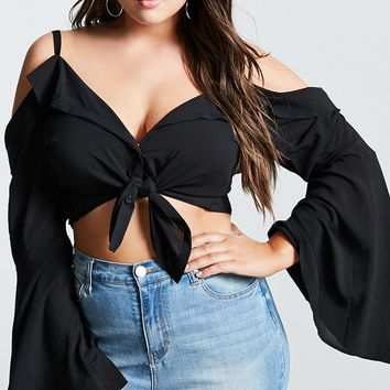 Plus Size Open-Shoulder Top