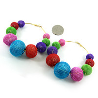 Multi Color Mesh Hoop Earrings