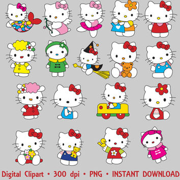 Hello Kitty Clipart Party Digital Images PNG Set Clip Art Scrapbooking Invitations Printable Digital Graphic INSTANT DOWNLOAD 300 dpi