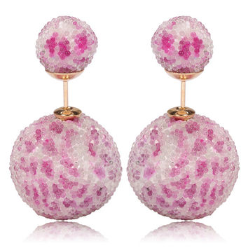 Italian Import Gum Tee Mise en Style Tribal Double Bead Earrings - Micro Bead Pink Leopard Design