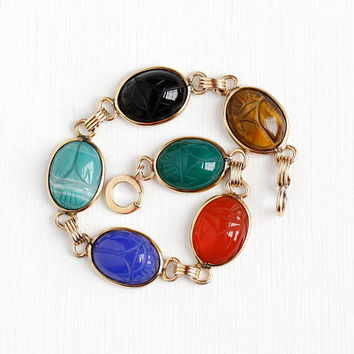 Vintage 12k Rosy Yellow Gold Filled Scarab Gem Bracelet - Retro 1950s Carved Beetle Bug Agate Black Onyx Gemstone Egyptian Revival Jewelry
