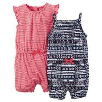 Just One You™Made by Carter's® Newborn Girls' 2 Pack Knit Pattern Rompers - Blue Multi/Red