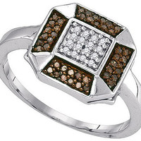 Cognac Diamond Fashion Ring in 10k White Gold 0.2 ctw