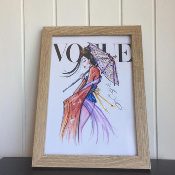 Mulan vogue print. Unmounted wall art. A4 vogue prints. Princess  poster.