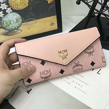 MCM Popular Women Leather Buckle Wallet Purse(3-Color) Pink I-AGG-CZDL