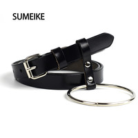 [SUMEIKE] Genuine Leather Belt Female Fashion Round Metal Circle Thin Belts For Women