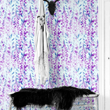 Blue & Purple seamless floral pattern removable wallpaper, Seamless floral wallpaper, Botanical wall mural, BW131