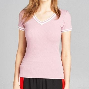 Ladies fashion short contrast ribbed sleeve and v-neck cotton spandex top