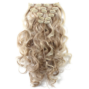 7pcs Suit Clips in Hair Extension Curled Wig Piece   16H613