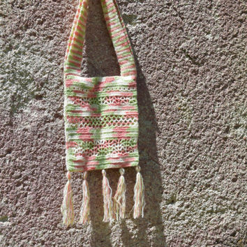 Boho Crochet Bag-Beach tote handbag-Fringe bag Hippie tote-Crossbody tote-Bohemian bag-Native American purse Pastel tote festival Summer bag