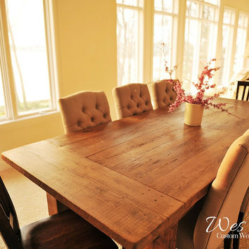 The Montgomery Natural Antique Oak Barn Wood Table