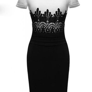 2014 Fashion Women Clothing Crochet Lace O-neck Sleeveless Knee Length Slim Party Pencil Bodycon Dresses = 1931475780